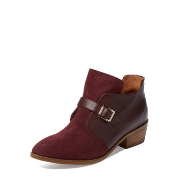 Suede & Leather Buckle Bootie