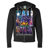 California Republic Cosmic State Flag Logo Design In Space Galaxy Zip-Up Hoodie