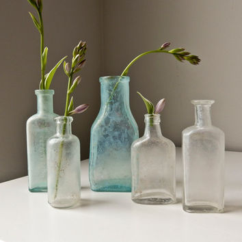 Vintage  Glass Bottles,  Antique Medicine Bottles, Glass Bud Vases