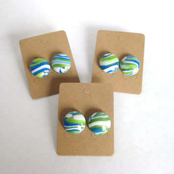 Marbled Clay Jewelry, Green, White, Blue, Marbled Polymer Clay, Marbled Earrings, Marbled Jewelry, Ready To Ship, OOAK