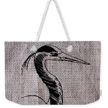 Heron On Burlap - Weekender Tote Bag