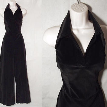Vintage 70s Palazzo Jumpsuit | 1970s Black Velvet Jumpsuit | Open Back Disco Jumpsuit | Charlie's Angels Halter Jumpsuit | Evening Jumpsuit