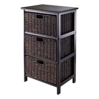 Winsome Trading Omaha 3-Tier Storage Shelf with 3 Baskets in Black/Chocolate