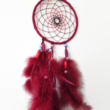 5'  Burgundy Dream Catcher. Native Decor. Circle of Life. Hanging Decoration