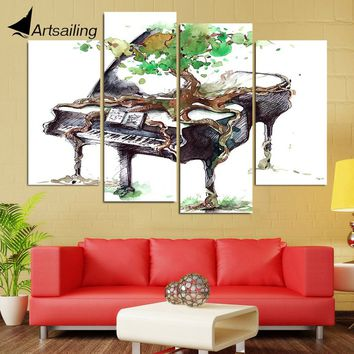 HD Printed 4 Piece Canvas Art Abstract Piano Painting Music Wall Pictures for Living Room Framed Modular