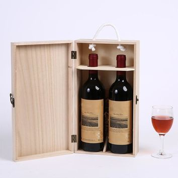 VFGTERTE 1PC Wine Bottle Holder Box High-Quality Manufacturers Pine Wood Red Wine Carrier Gift Packing Box Kitchen Bar Tools