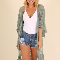 WILD HONEY LACE KIMONO - DUSTY MINT