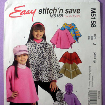 "Girl's Pullover Ponchos Hooded McCall's Stitch 'n Save M5158 Child Size Med-Large, 7, 8, 10, 12 Bust 26 - 30"" Sewing Pattern Uncut"