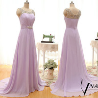 New Arrival A Line Spaghetti Strap Crystal Long Formal Purple Prom Dress 2015 Formal Purple Crystal Evening Dresses