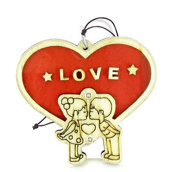 Cute Love Couples Heart Magic Energy Lucky Charm Protection Wooden Car Charm Home Decor Blessing