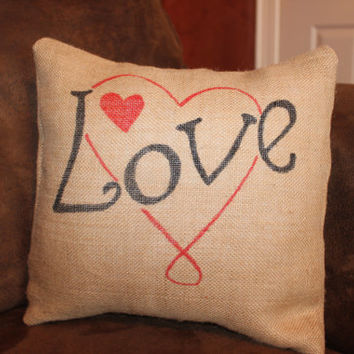 "Burlap Pillow Cover 12"", Love, Hearts, Insert Included"