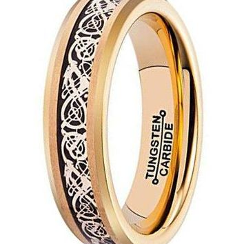 6mm Black Carbon Fiber Silver Celtic Dragon Inlay Gold Tungsten Carbide Ring