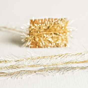 Tinsel Twine in Light Gold - 6 Yards - Christmas Holiday Ribbon Cord Festive Garland Pretty Packaging Gift Wrapping Wedding Fun Party Decor
