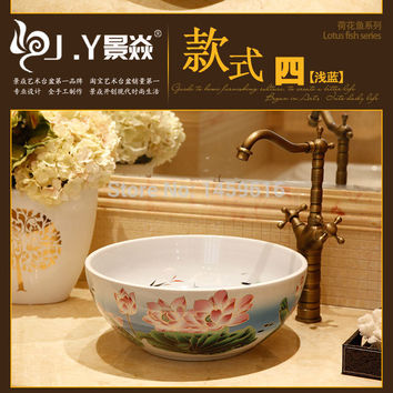 Round Bathroom Ceramic Counter Top Wash Basin Cloakroom Hand Painted Vessel Sink bowl 5011
