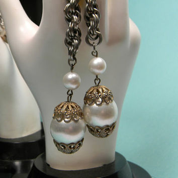 Faux Pearl Slider Necklace, Ornate Caps, Gold Tone