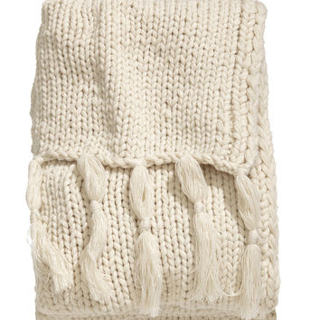 H&M - Chunky-knit Throw - Light beige