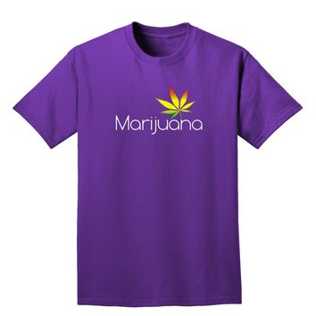 Marijuana Text and Leaf - Rastafarian Adult Dark T-Shirt