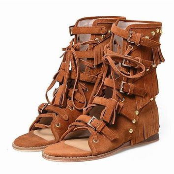 Mid Calf Gladiator Studded Fringe Sandals / Light Brown