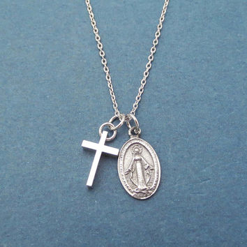 Virgin Mary, Cross, Silver, Necklace, Birthday, Best friends, Sister, Gift, Jewelry
