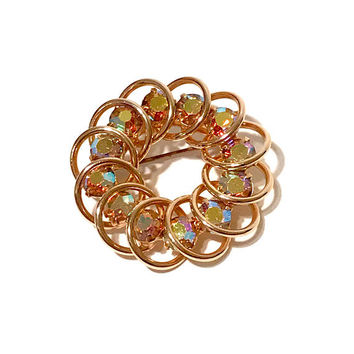 Aurora Borealis Circle Brooch, Gold Tone, Spiral Design, Vintage 1960s, Yellow Pink Tones, Facted Round Stones, Vintage Jewelry
