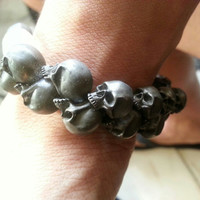 Multi-Skull Bracelet - Nickel Silver Beaded Resin Jewelery