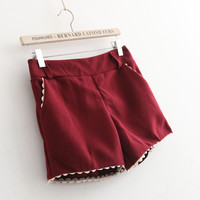 Lace Woolen Pocket Shorts