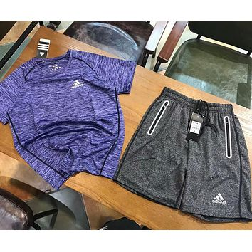 """Adidas"" Fashion Men Print Short Sleeve Top Shorts Pants Sport Gym Two-Piece Set Sportswear Purple Grey I-AA-XDD"