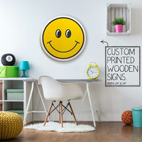 Yellow Smiley Face Custom Quote Trendy Dorm Room Teen Room Wall Art Unique Wood Sign Home Decor Wedding Gift