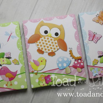 Set of 3 Sweet Little Owl Stretched Canvases Baby Nursery CANVAS Bedroom Wall Art 3CS013