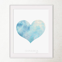 PRINTABLE Heart Art Print, Sky Blue Heart Print, Love art print Valentines decor Printable wall art, Heart decor Nursery decor Bedroom Decor