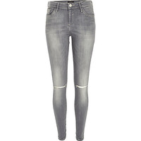 River Island Womens Grey Amelie ripped knee superskinny jeans
