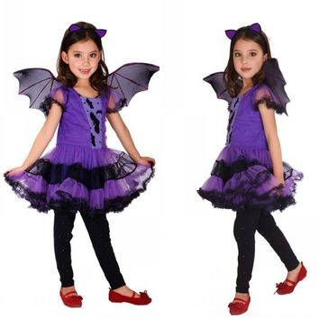 Cool batgirl for girls Cosplay Vampire fancy Dress halloween costume for kids witch Party Christmas carnival costumes for childrenAT_93_12