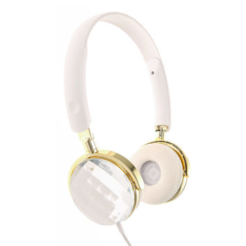 White & Gold Gem Headphones