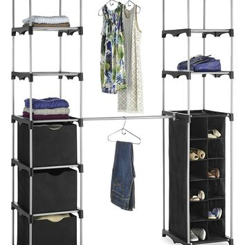 Clothing Hanging Rack Closet Organizer with Shelves and Fabric Cubes