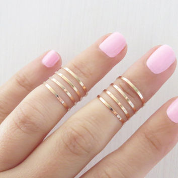 Gold ring - 8 Above the Knuckle Rings, Rose gold stacking ring, Knuckle Ring, Band ring, Midi ring, Handmade ring, Accessories,Birthday gift