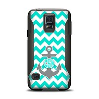 The Teal Green and Gray Monogram Anchor on Teal Chevron Samsung Galaxy S5 Otterbox Commuter Case Skin Set