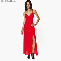 Red Strap Maxi Dress With Slit