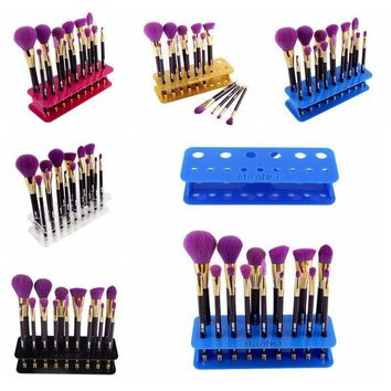 15 Hole Makeup Brush Holder Rack Organizer Cosmetic Toothbrush Storage Stand Box