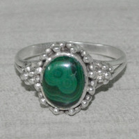 Classic Design Ring of Malachite Gemstone Silver, Crystals, Bronze, Jewelry, Gift, Holiday,Handmade Jewellery, silver ring