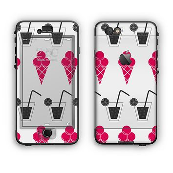The Red Icecream and Drink Icon Collage Apple iPhone 6 LifeProof Nuud Case Skin Set
