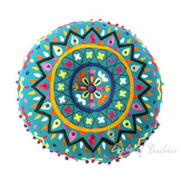Teal Blue Round Decorative Floor Cushion Pillow Pouf Cover - 24""