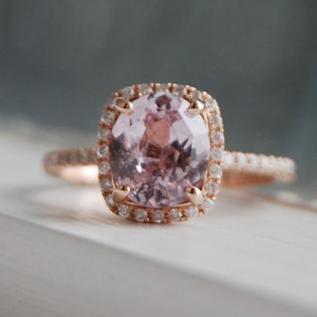 2ct Cushion lavender peach champagne sapphire 14k rose gold diamond ring engagement ring