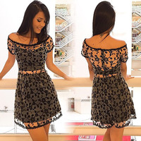 Fashion short sleeve black lace dress TBW61WB