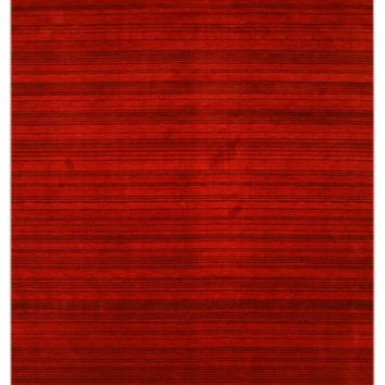 EORC Handmade Wool Red Transitional Stripe Stripe Rug