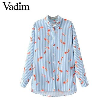 Women cute goldfish striped shirts oversized loose long sleeve blouse turn down collar fashion office wear brand tops LT1570