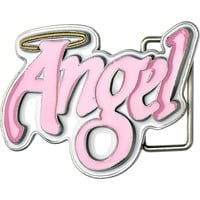 Light Pink ANGEL Graffiti Belt Buckle