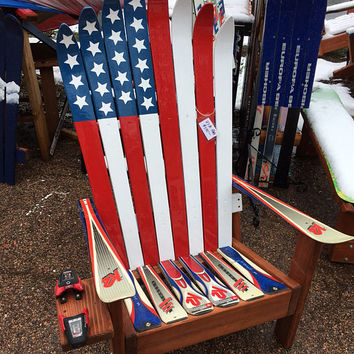 Hand Painted Adirondack USA flag Ski chair