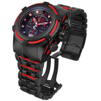 Invicta 12950 Men's Reserve Jason Taylor Bolt Zeus Red Bezel Black IP Steel Chronograph Dive Watch