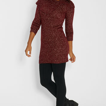 marled sweater dress with split cowl neck