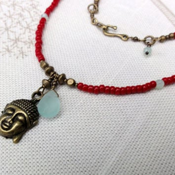 Long, Red, Beaded Necklace with Brass Buddha Charm & Faceted Quartz Briolette
